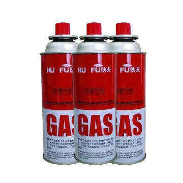 Disposable butane gas cartridge 220g and cast iron aerosol canister